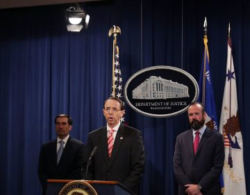 Deputy Attorney General Rod Rosenstein announces indictments against 12 Russian intelligence agents for computer hacking, at a news conference at the Department of Justice on Friday. (Chip Somodevilla/Getty Images)