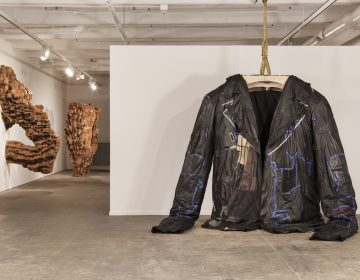 This monumental leather jacket sculpture, titled PODERWAĆ, 2017, by Ursula von Rydingsvard, inspired a film series on the leather jacket in cinema. (Credit: Carlos Avendaño)
