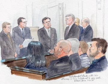 Paul Manafort (center), standing with his lawyers, is introduced to jury pool on Tuesday. (Sketch by Art Lien)