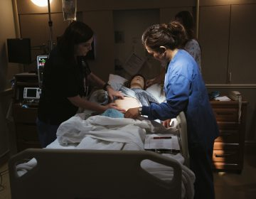 Using a mannequin to simulate dangerous scenarios, a team at Pomona Valley Hospital Medical Center learns standard treatments for obstetric emergencies like hemorrhage. (Bethany Mollenkof for NPR)