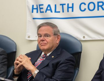 U.S. Sen. Bob Menendez, D-New Jersey, visits the CAMcare Gateway Health Center in Camden Monday to talk about the brewing battle over President Donald Trump's U.S. Supreme Court nomination. (Lindsay Lazarski/WHYY)