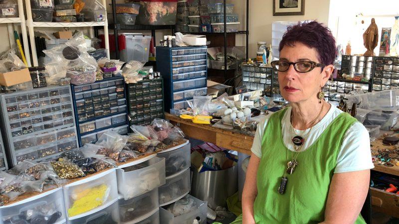 Artist Nancy Josephson, in her Wilmington Delaware studio. (Brian Drouin/WHYY)