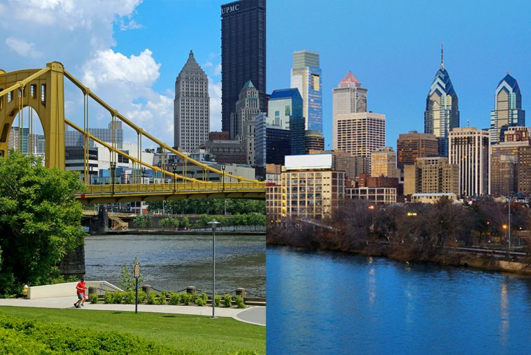 Left: Downtown Pittsburgh (AP Photo/Gene J. Puskar) Right: Philadelphia skyline (SeanPavonePhoto/Bigstock)