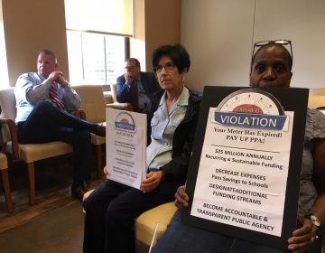 Rochelle Nichols-Solomon (right) and other Pay Up PPA members demand more school funding at a PPA board meeting. (Jim Saksa/WHYY News)