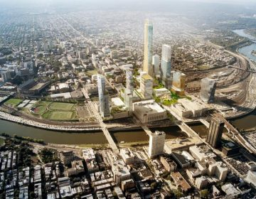 Conceptual rendering of Schuylkill Yards, a site being put forth for Amazon's second headquarters (Brandywine Realty Trust)