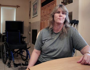 Shannon Hubbard has complex regional pain syndrome and considers herself lucky that her doctor hasn't cut back her pain prescription dosage. (Will Stone/KJZZ)