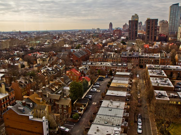 An aerial view of Society Hill.