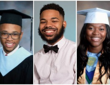 Class of 2018 high school graduates Tamir Harper, Anthony Rivera, and Shania Bennett (left to right).
