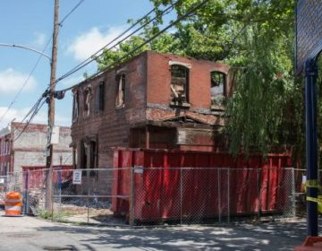 The structure at 2621 N. Jefferson St. in Brewerytown, as it appeared just after the June collapse. (Lindsay Lazarsky/WHYY)