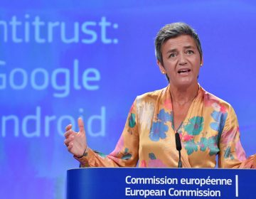 European Union Competition Commissioner Margrethe Vestager held a joint news conference at EU headquarters in Brussels on Wednesday after slapping a record $5 billion antitrust penalty on the U.S. tech giant. (John Thys/AFP/Getty Images)