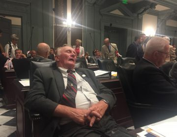 State Rep. Dave Wilson takes an understandable snooze about 7 a.m. on July 1 during a recess in this  year's final legislative session. (Cris Barrish/WHYY)