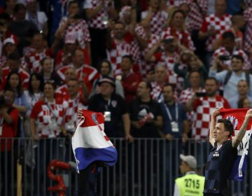 Croatia's Mario Mandzukic celebrates after the semifinal match between Croatia and England at the 2018 soccer World Cup in the Luzhniki Stadium in Moscow, Russia, Wednesday, July 11, 2018. (AP Photo/Francisco Seco)