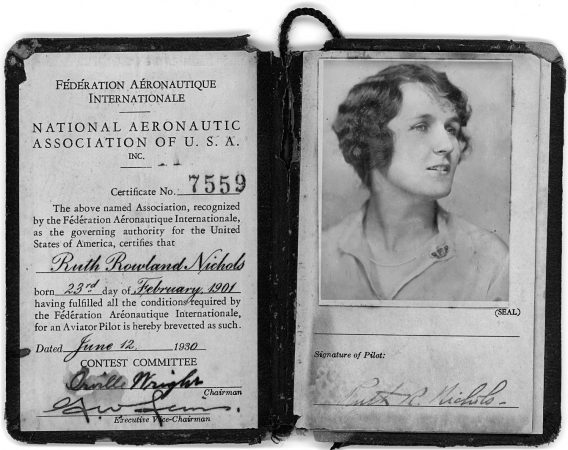 Ruth Nichols' pilots license, signed by flight pioneer Orville Wright.