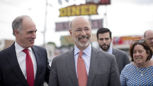 Governor Tom Wolf and US Senator Bob Casey hold comfortable leads over their GOP challengers, according to a new independent poll. (AP)