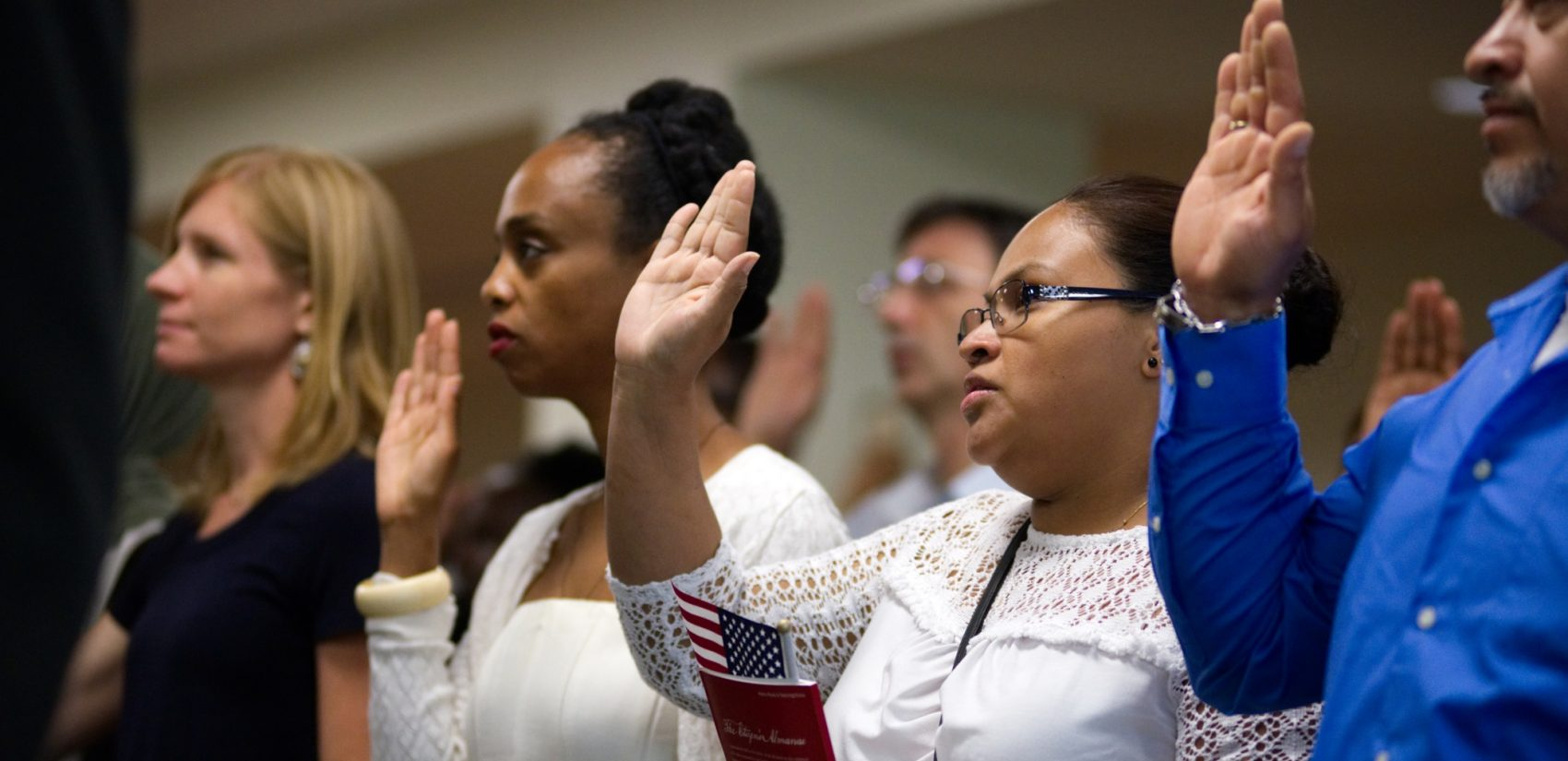 Naturalization ceremony at the United States Citizenship and Immigration Service, in University City, Philadelphia, PA, on August 28, 2017. (Bastiaan Slabbers for WHYY)