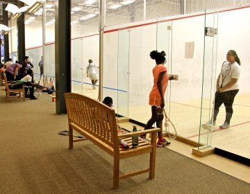 Squash Smarts has eight courts at the Lenfest Center in North Philadelphia and about 100 active students. (Emma Lee/WHYY)