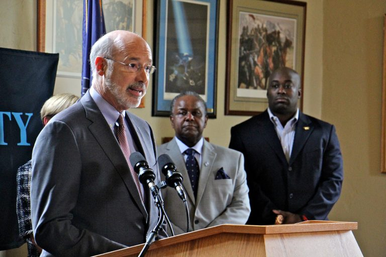Pennsylvania Gov. Tom Wolf announces the formation of the Institute for the Contemporary African American Experience at Cheyney University. He is joined by (from left) Cheyney University President Aaron Walton and Charles S. Smith, Chairman of the Epcot Crenshaw Corporation, a partner in the Institute.