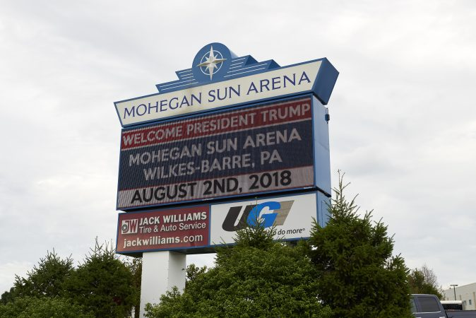 President Trump visits Wilkes-Barre, Pa., on August 2, 2018 to headline the Make America Great Again rally and to endorse former local mayor and state Rep. Lou Barletta.  (Natalie Piserchio for WHYY)