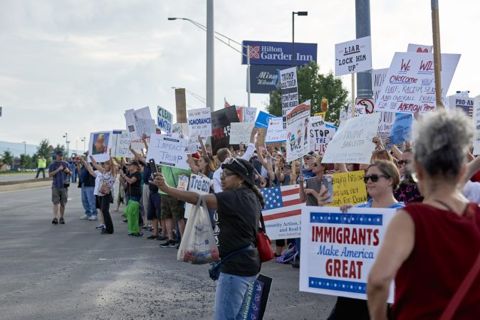 Approximately 300 protesters showed up on August 2, 2018, outside of the Make America Great Again rally in Wilkes-Barre, Pa. (Natalie Piserchio for WHYY)