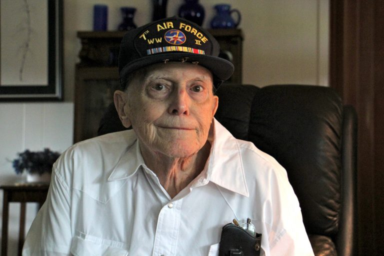 World War II veteran Charles Reddig, flying a mission over Japan, saw the atomic bomb explode over Hiroshima and the devastation it left behind. (Emma Lee/WHYY)