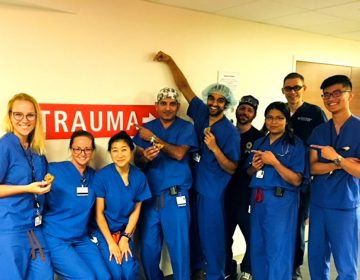 Second- year surgery resident Anna Mydlowska (far left) with her team of residents, attending physicians and nurses on the trauma unit at the Hospital of the University of Pennsylvania. (Courtesy of Anna Mydlowska)