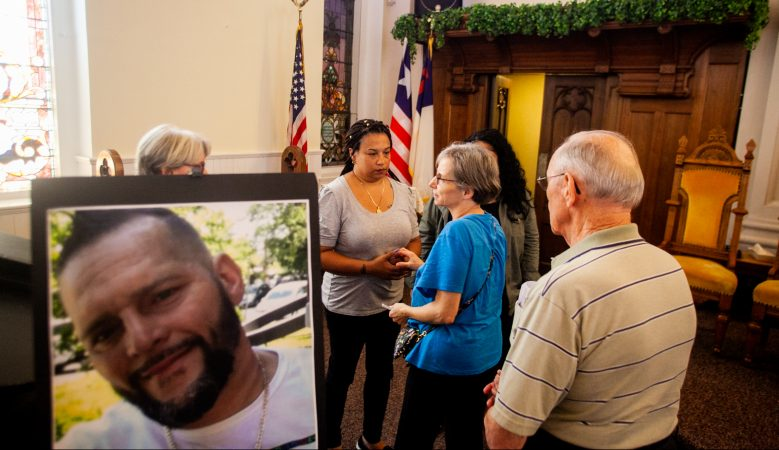 Arlene Figueroa, the partner of Joseph Santos, is pictured after an interfaith service for the 44-year-old who was fatally shot by South Whitehall Township Police Officer Jonathan Roselle on July 28, 2018. (Brad Larrison for WHYY)