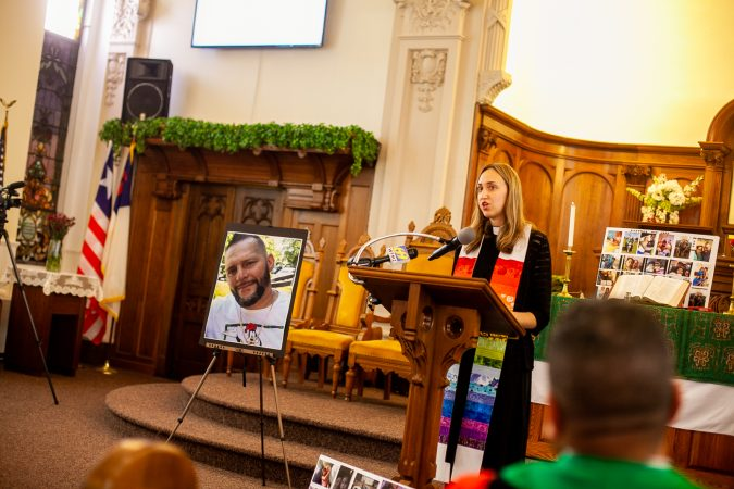 The Rev. Cecilia Baxter speaks at a memorial service for Joseph Santos of Hasbrouck Heights, N.J.  who was fatally shot by South Whitehall Township Police Officer Jonathan Roselle on July 28, 2018.(Brad Larrison for WHYY)