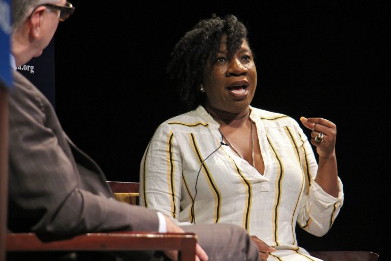 Tarana Burke, founder of the #MeToo movement, tells her story during an event put on by the World Affairs Council of Philadelphia at Suzanne Roberts Theater.