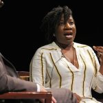 Tarana Burke, founder of the #MeToo movement, tells her story during an event put on by the World Affairs Council of Philadelphia at Suzanne Roberts Theater. (Emma Lee/WHYY)