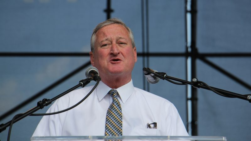 Philadelphia Mayor Jim Kenney speaks at a union rally at Penn's Landing aimed at ending the separation of immigrant families. (Emma lee/WHYY)