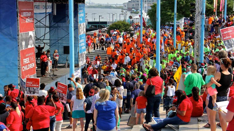 About 2,000 union members rally Wednesday  at the Great Plaza at Penn's Landing to protest U.S. immigration policies. (Emma Lee/WHYY)