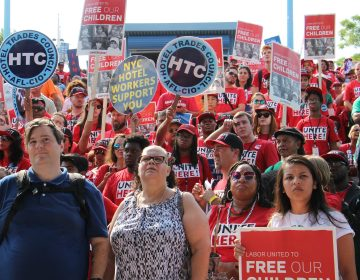 About 2,000 union members rally at the Great Plaza at Penn's Landing to protest the separation of immigrant families.