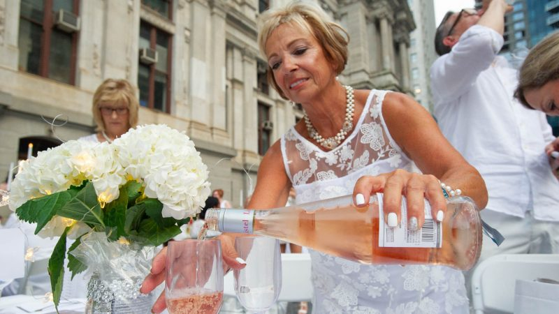 Bonnie Hughes pours a French rosé.(Jonathan Wilson for WHYY)