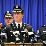 Camden Police Chief John Thomson asks for the public's help in finding three men wanted in connection with the shooting of two undercover detectives. (Emma Lee/WHYY)