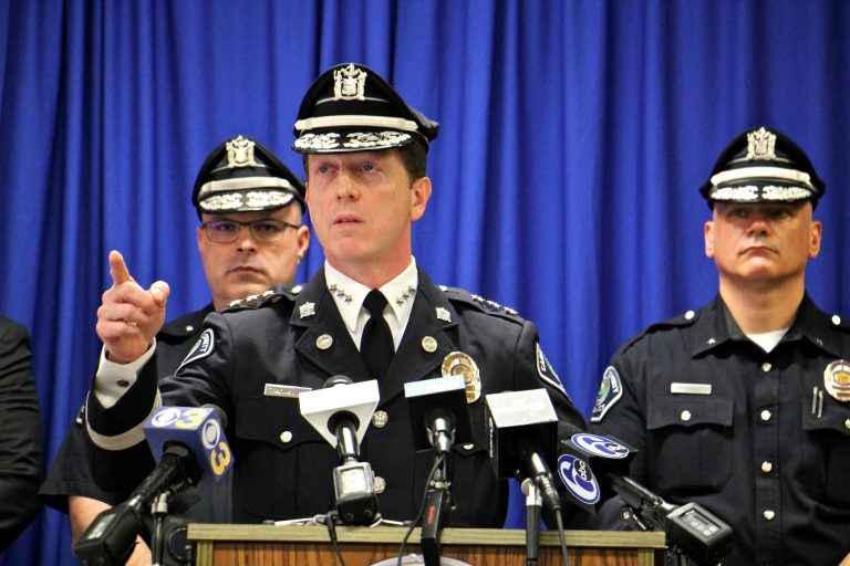 Camden Police Chief John Thomson asks for the public's help in finding the men wanted in connection with the shooting of two undercover detectives. (Emma Lee/WHYY)