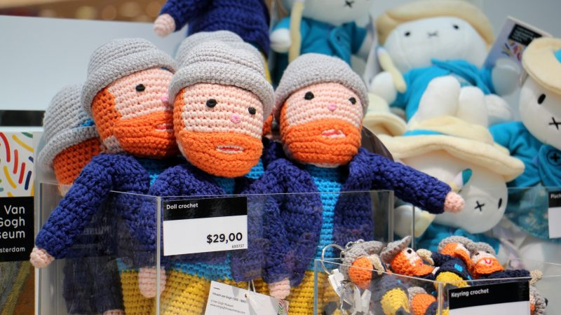 Crocheted van Gogh dolls are among the items available at the gift shop. (Emma Lee/WHYY)