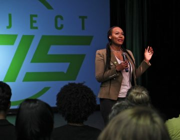 Michi Marshall, wife of NFL wide-receiver Brandon Marshall, talks about her husband's mental illness during a day of mental health first aid training for teachers at String Theory Charter School.