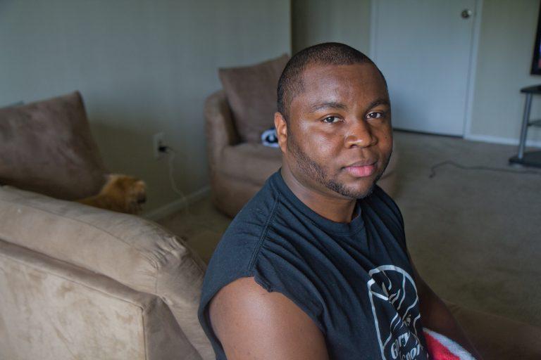Jerome Maynard at his apartment in Northwest Philadelphia. (Kimberly Paynter/WHYY)