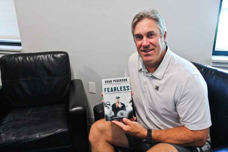 Philadelphia Eagles head coach Doug Pederson has written a book about his philosophy of life and football. (Kimberly Paynter/WHYY)