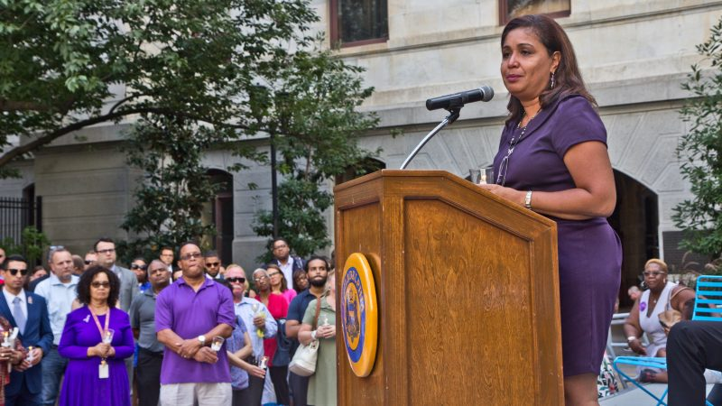 Councilwoman Maria Quiñones-Sánchez remembers her friend and colleague Linda Rios, who served as director of human resources for Philadelphia City Council. (Kimberly Paynter/WHYY)