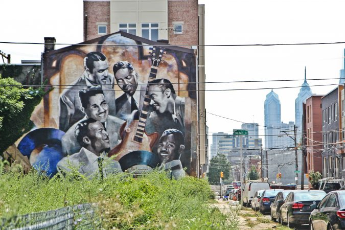 The Dixie Hummingbirds are featured in a mural at 15th and Poplar streets in Philadelphia. (Kimberly Paynter/WHYY)