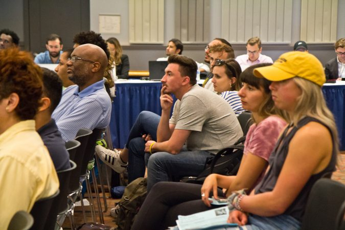 Delawareans attend a town hall forum with Kerri Evelyn Harris and New York congressional candidate Alexandria Ocasio-Cortez at the University of Delaware. (Kimberly Paynter/WHYY)