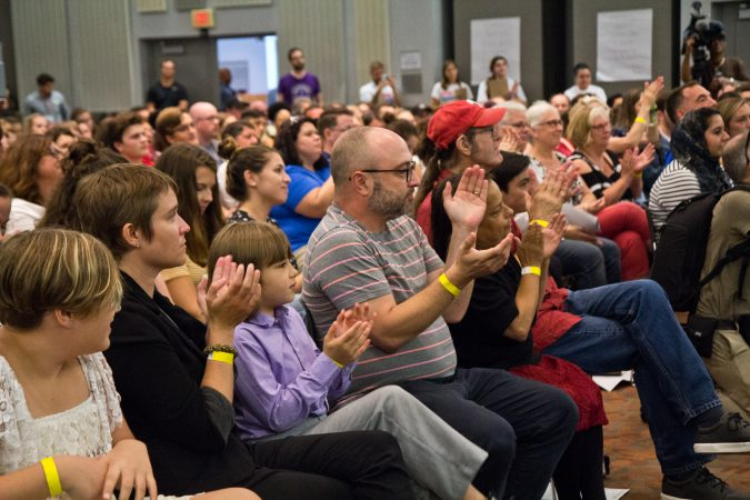 Delawareans attend a town hall with Kerri Evelyn Harris and New York congressional candidate Alexandria Ocasio-Cortez at the University of Delaware. (Kimberly Paynter/WHYY)