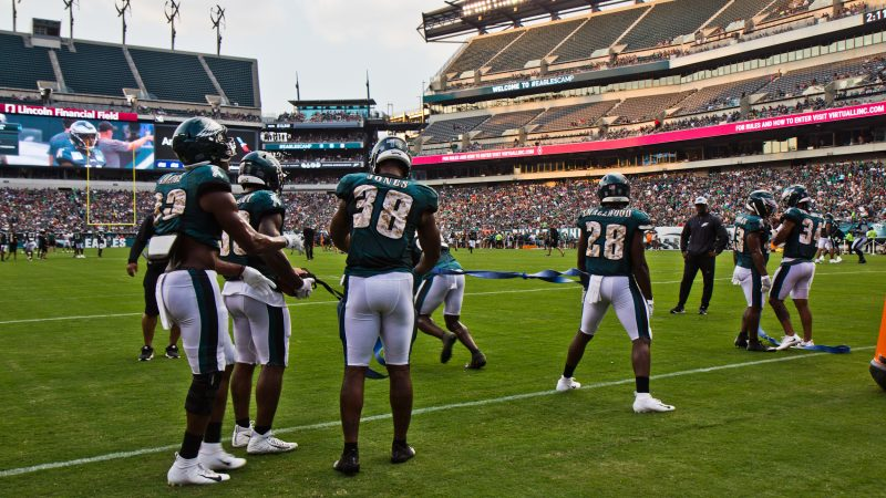 The Philadelphia Eagles hosted their first open practice of the season Sunday evening. (Kimberly Paynter/WHYY)