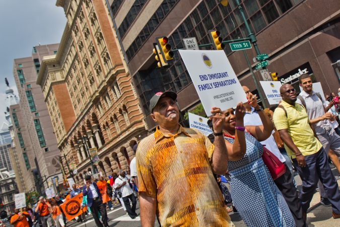 Members of the Progressive National Baptist Convention march for justice on Market Street in Philadelphia. (Kimberly Paynter/WHYY)