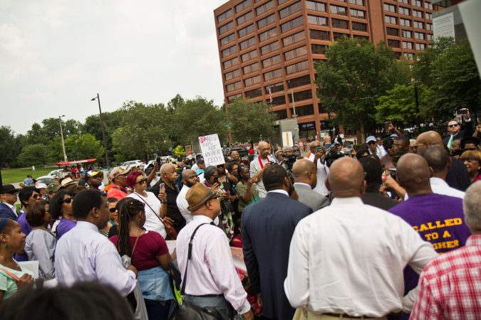 Members of the Progressive National Baptist Convention gather on Independence Mall Monday. (Kimberly Paynter/WHYY)