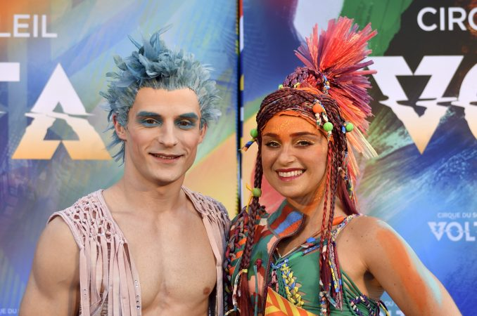 Cast members in the roles of WAZ and ELA pose ahead of Cirque Du Soleil's big top show, VOLTA, in Oaks, Pa., on July 12, 2018. (Bastiaan Slabbers for WHYY)