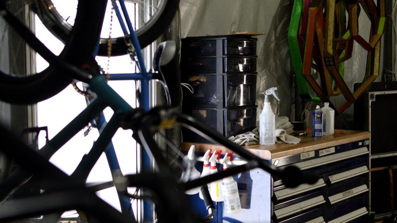 A bike workshop is found in the back of the artist tent of Cirque Du Soleil's VOLTA, in Oaks, Pa., on August 8, 2018. (Bastiaan Slabbers for WHYY)