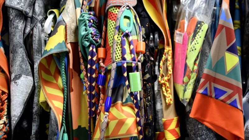 A detail of the colorful wardrobe worn by Cirque Du Soleil's VOLTA performers in Oaks, Pa., on August 8, 2018. (Bastiaan Slabbers for WHYY)