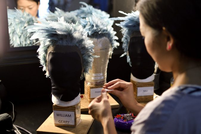 Wigs worn by the WAZ character are prepared ahead of Cirque Du Soleil's VOLTA, in Oaks, Pa., on August 8, 2018. (Bastiaan Slabbers for WHYY)